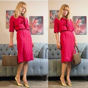 Vintage 1960s Silk Floral Print Dress XS VTg